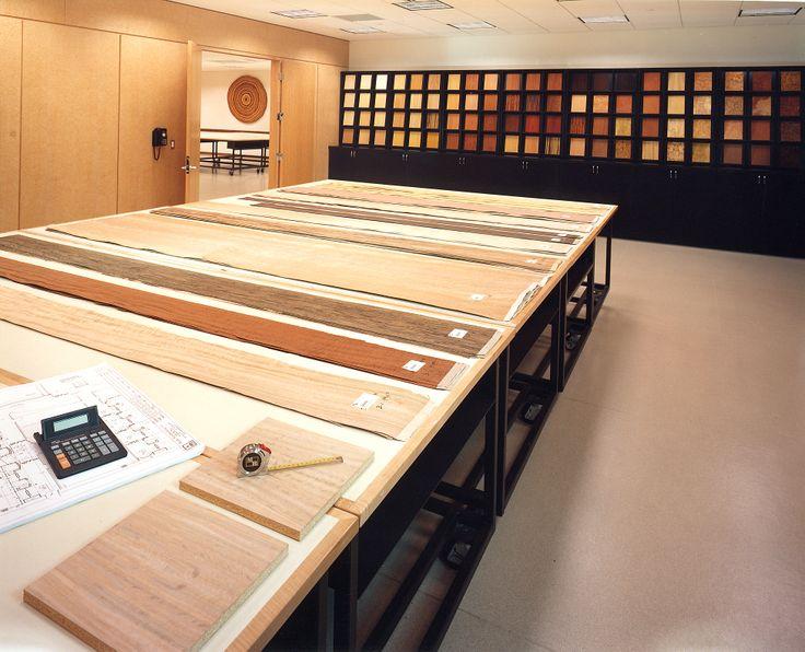 Architect and Design Sample Room with finished panels #veneer #woodveneer #veneersamples #bohlke
