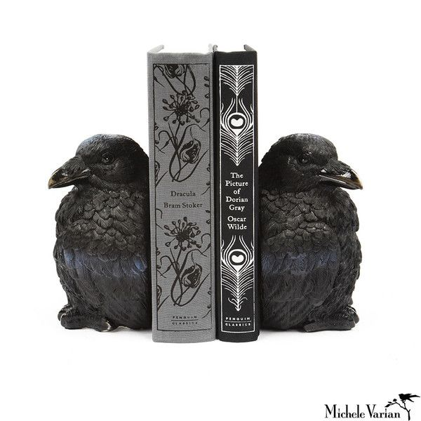"""""""Raven Bookends"""" I love ravens. They're just the coolest bird and making them a bookend then brings up thoughts of Poe .... nice!"""