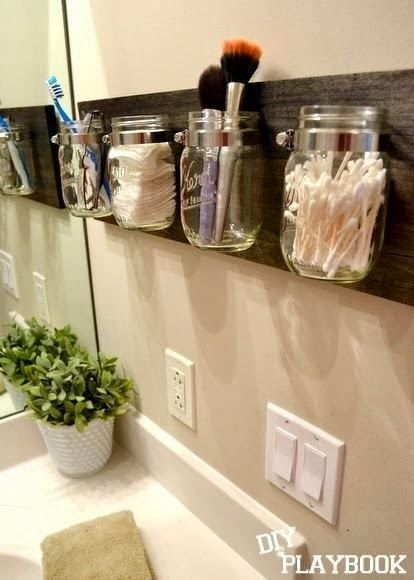 Mason jar bathroom organizer DIY