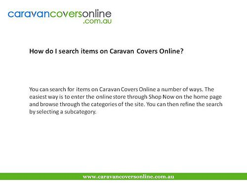 How do I search items on Caravan Covers Online?