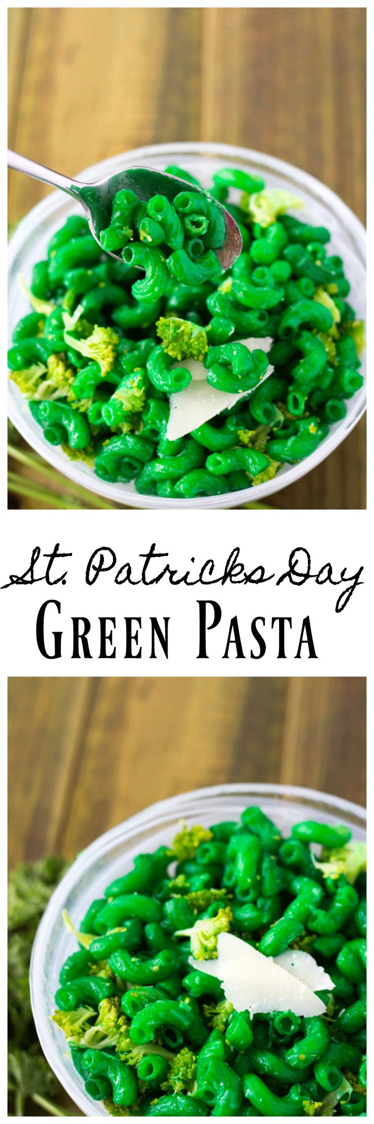 Everyone will be green with envy when they see your green St.Patricks day lunch! This pasta is so easy with just a few drops of food coloring.