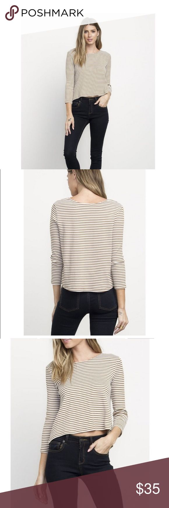 RVCA women's top Tan and cream striped top, nice thick material. I love how versatile this top is, could dress it up, layer it, or just wear with jeans and look pulled together, but it's just the tiniest bit cropped in the front and I am a mom and a teacher and I can't hang. I have a long torso so that's a problem too. RVCA Tops Tees - Long Sleeve