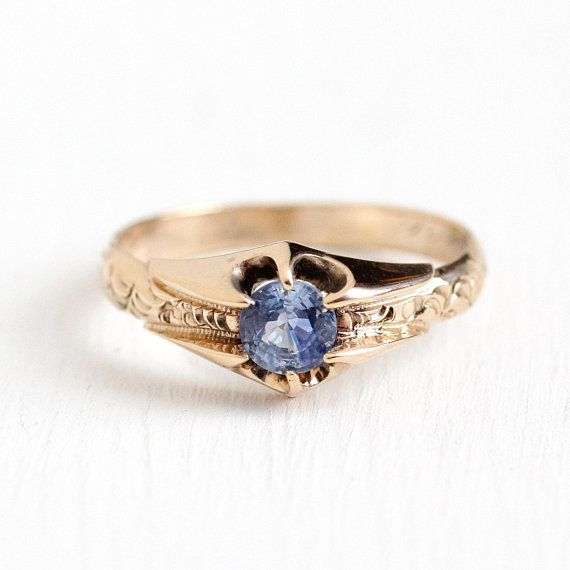 Sale Vintage Sapphire Ring Antique 10k Rosy Yellow Gold 62 Ct Engagement Genuin Sapphire Antique Ring Vintage Sapphire Ring Antiques Vintage Sapphire Ring
