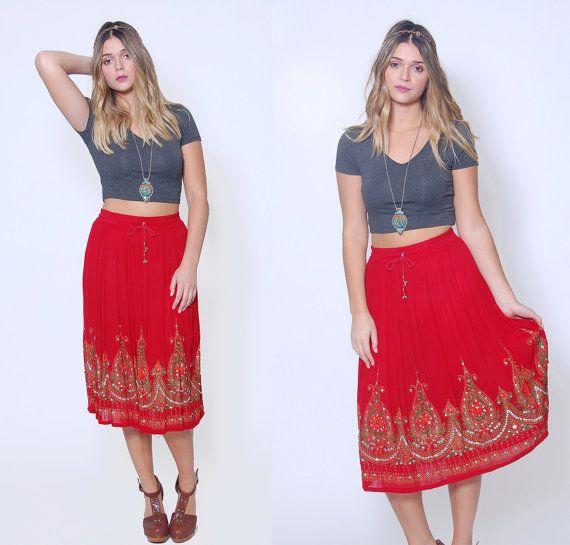 Vintage 90s INDIAN Skirt Sienna Ethnic GYPSY by LotusvintageNY #Indian #gypsy #ethnic #hippie #boho #festival #vintage #90s #skirt