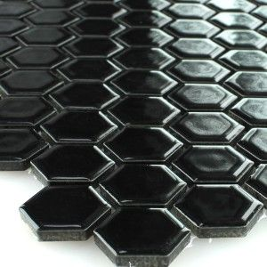 Mozaïektegel Keramiek Hexagon Zwart Glanzend