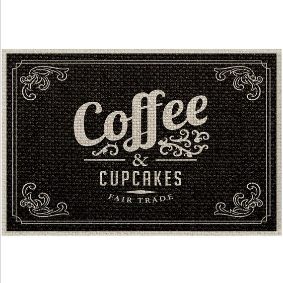 Coffe Print Rug Black, Bath Mat, Floor Mat for Home, Vintage Carpet, Kitchen Mat, Typography Style Rug , Black Carpet, Office Rug