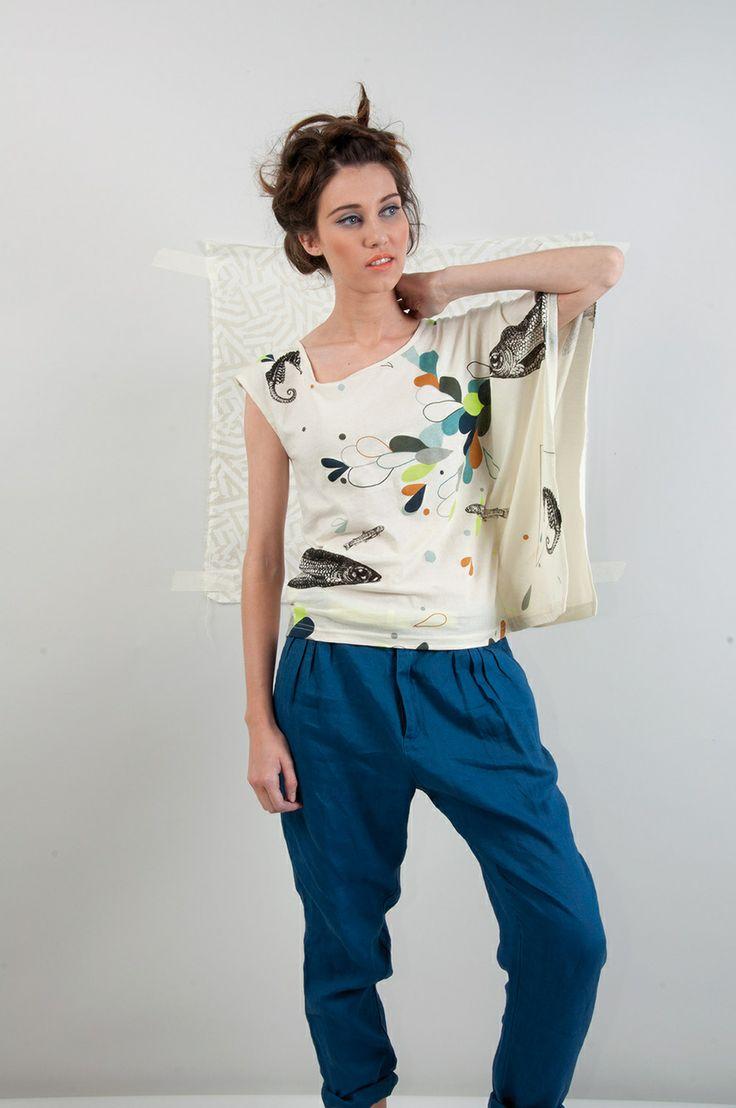 OLIVE-102 SKUNKFUNK women's t-shirt fabric content: 100% organic cotton color: white,blue price: $69.00