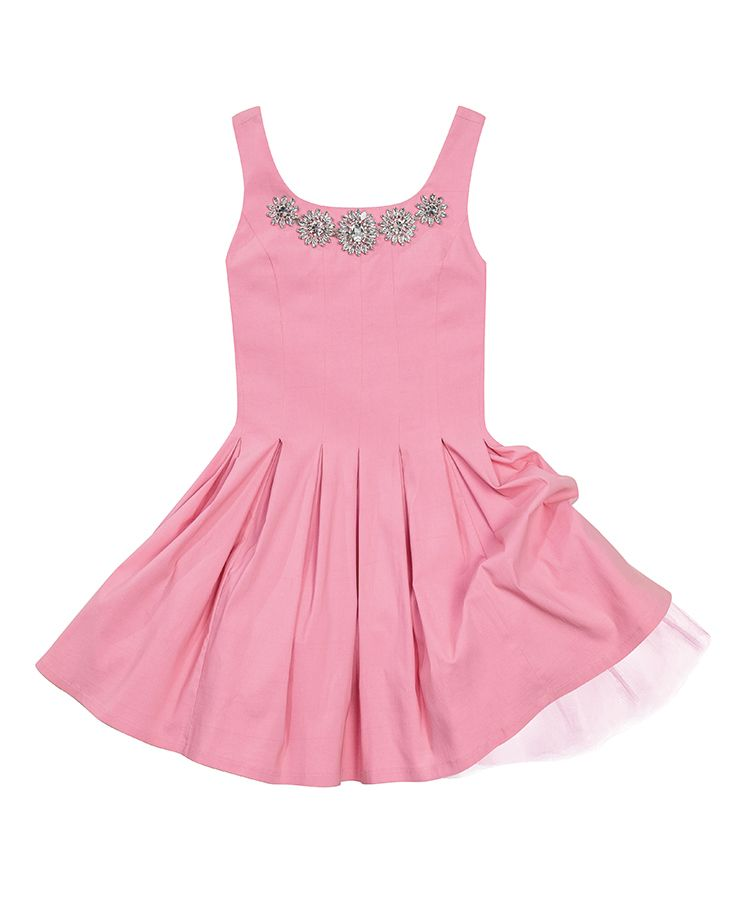 Pink jeweled party dress with tulle petticoats, $159.00. Coqui Boutique | 703.413.5441