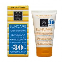 SUNCARE Light Texture Face Cream for Oily-Combination Skin SPF30with sea lavender & propolis. High Protection from UVA and UVB radiation. Regulation of #Oiliness #Matte Effect #Antioxidant Action Sun care face cream (SPF 30 and UVA 17) with patented propolis that combats photoaging, regulates oiliness and gives a matte look. Ideal for both young and oil skin, as well as for male skin.