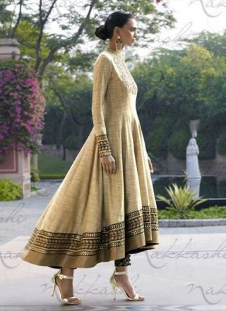 Beige Khadi Embroidered lace Border Sequins Work Party Wear Anarkali Salwar Kameez http://www.angelnx.com/