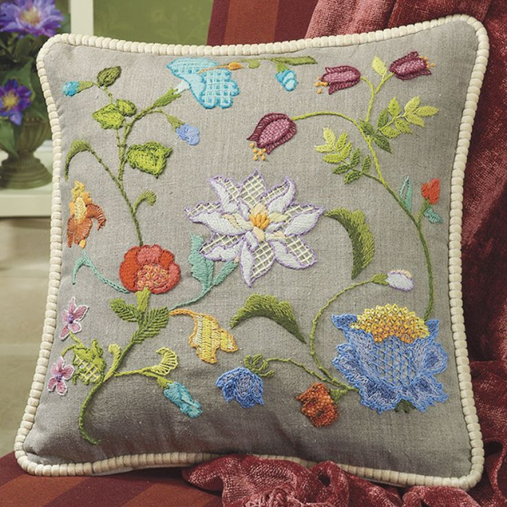 Magnolia and Morning Glory Pillow Top - Cross Stitch, Needlepoint, Embroidery Kits – Tools and Supplies