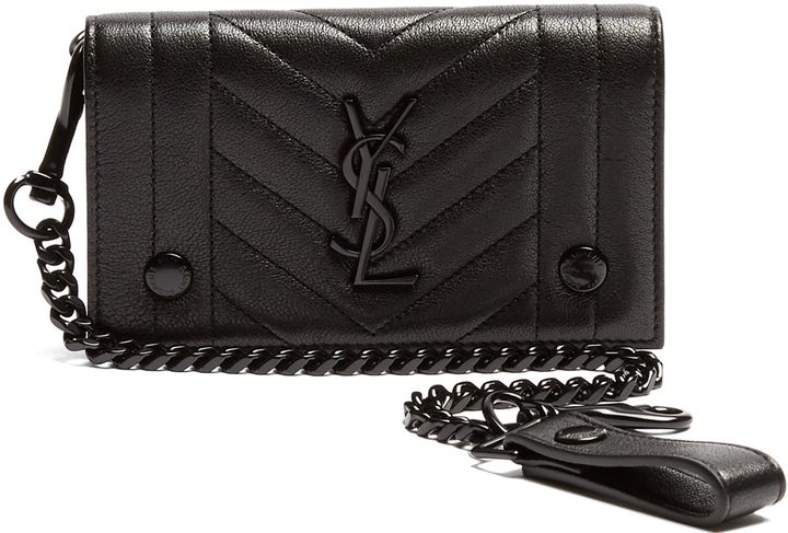 SAINT LAURENT Monogram quilted-leather wallet