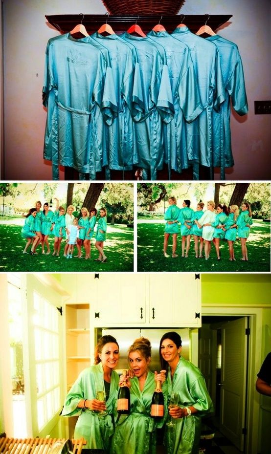 A classic, satin robe is the perfect bridesmaids' gift that your girls will actually use! Plus, they make for fun, sassy, pre-wedding photos!