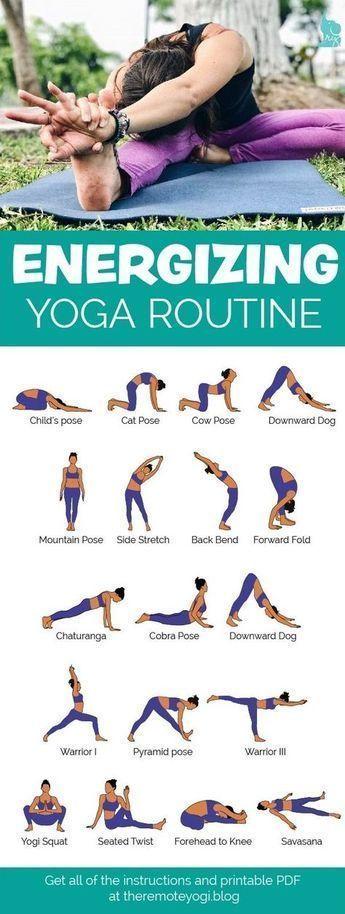 Kostenloses druckfähiges PDF – belebende Morgen-Yoga-Routine. Diese schnelle Pr