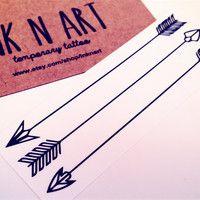 3pcs Arrows Tattoo - InknArt Temporary Tattoo Set - pack tattoo quote wrist ankle body sticker anchor fake tattoo