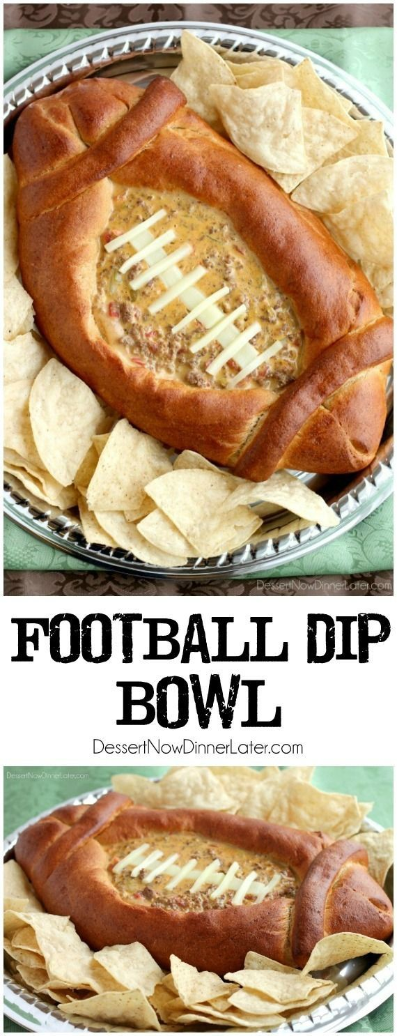 This Football Dip Bowl is made with a frozen whole wheat dough that is shaped into a football with a place to hold your favorite queso dip! Make laces with cut up string cheese and you have a fun, football themed party food! (Step-by-step photos included.) sports party food
