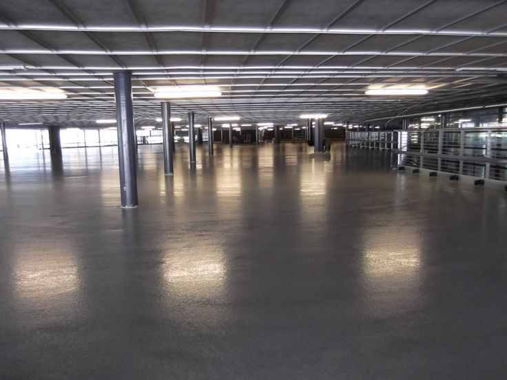 Undercover parkade after installation of industrial self-levelling screed