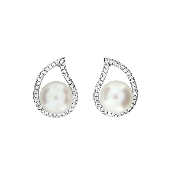 Freshwater Pearl & Pavé Teardrop Earrings #Silver #Pearl #Bride #BridalJewellery #PearlEarrings #WeddingJewellery #StudEarrings