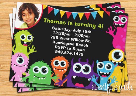 Invitación fiesta de cumpleaños lindo monstruo