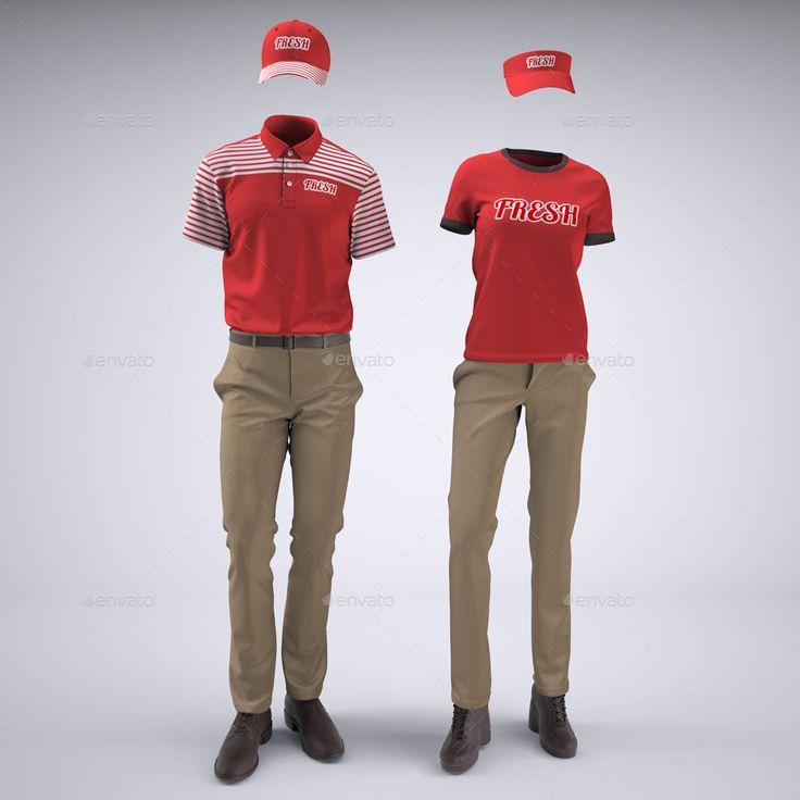 Food Service Uniforms And Retail Uniforms Mock Up Clothing Mockup Work Uniforms Men Fashion Photoshoot