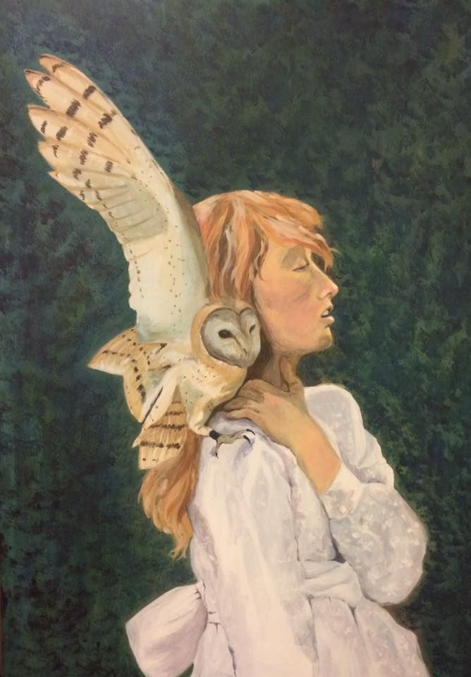 You are never alone girl, owl, acrilyc, paint