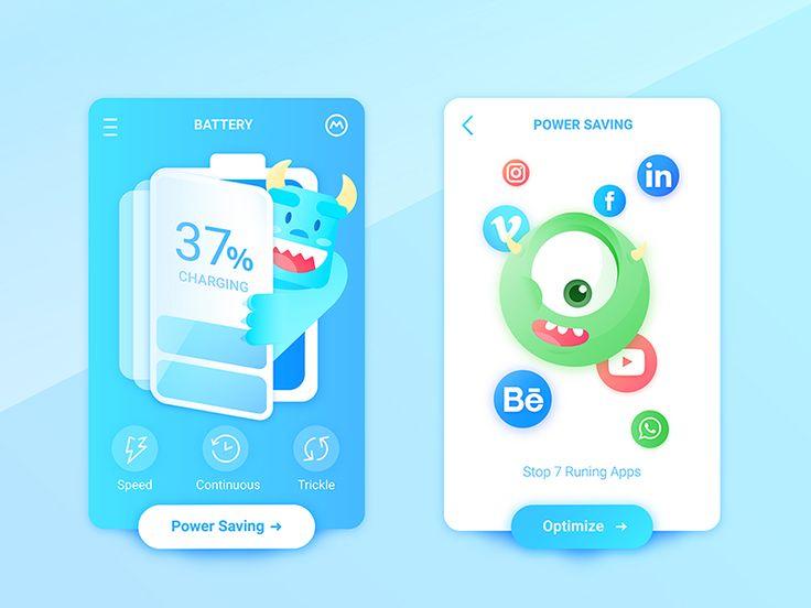 Monsters Inc. Battery Charging App by Daz_Qu #Design Popular #Dribbble #shots