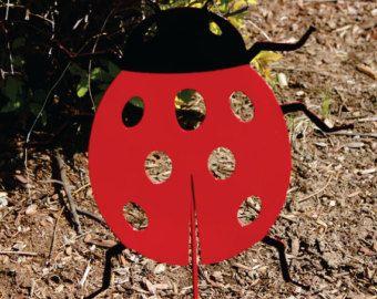 Folk Art Yard Art Found Object Metal Ladybug Sculpture