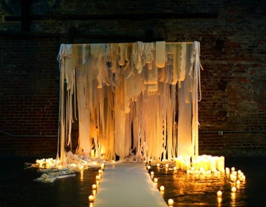 : Idea, Ceremony Backdrops, Ceremony Site, Wedding Altars, Candles, Wedding Backdrops, Fabrics Strips, Indoor Wedding, Wedding Ceremony
