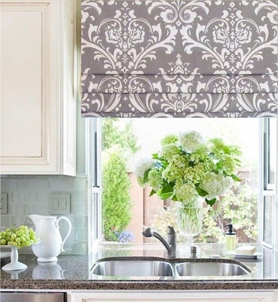 Faux Roman Shade Storm Grey Damask Mock Valance Custom