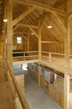 Love the loft idea- recess the loft a little bit and add a lip to save straw. This would be good. Also holes in the ceiling above the stalls and pushed the hay straight down there. It's great!