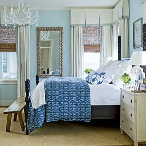 Love the chandelier and wall color!    Soothing Beachy Bedrooms | Seaside Elegance | CoastalLiving.com
