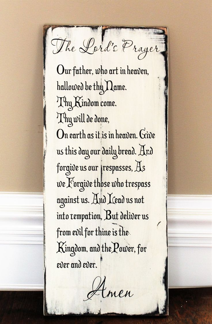The Lord's Prayer Made Of Reclaimed Wood - Christian Wall Art - Bible Verse Wall Art - Rustic Handpainted Pallet Sign - Our Father Prayer