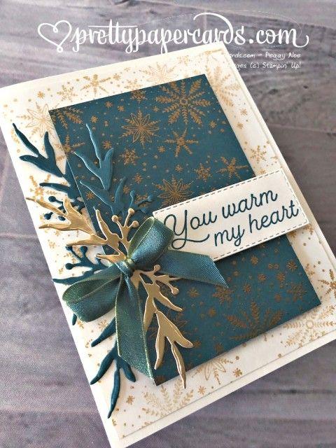 Handgemachte Weihnachtskarte mit dem Frosted Foliage Bundle von Stampin  & # 39; Nach oben! Schaf …
