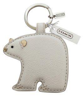 Coach Coach Leather Polar Bear Keychain Keyfob