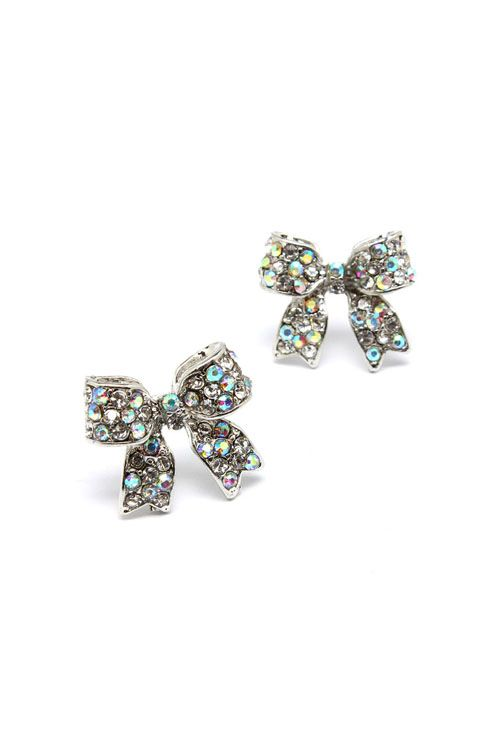 Crystal Bow Earrings in Iridescence