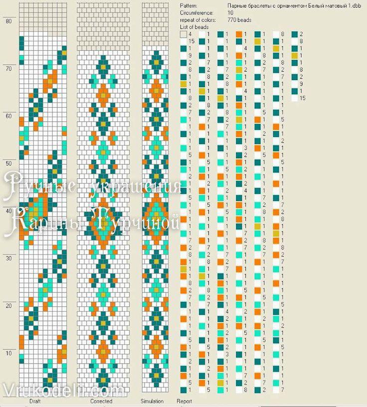 схема жгута с орнаментом на 10, вязание с бисером мк