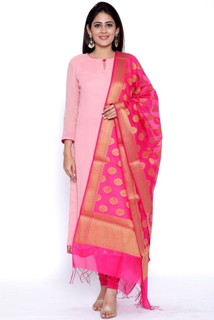 f74d245ad PeachesNPink Straight Kurti with Leggings and Pink Chanderi Banarsi Dupatta