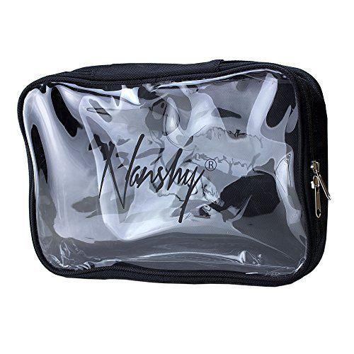Nanshy de voyage Noir Organiseur Sac de Maquillage avec fermeture éclair avant et transparent–Voir à travers–Idéal pour Aéroport…