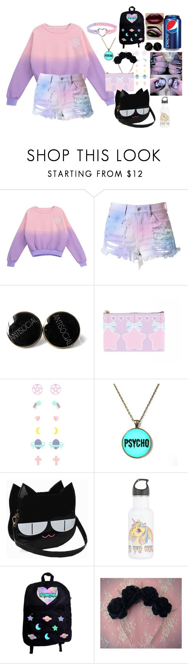 """pastel goth aesthetic / 1.29.16"" by hesitantalienfashion ❤ liked on Polyvore featuring Chicnova Fashion and Cotton Candy"