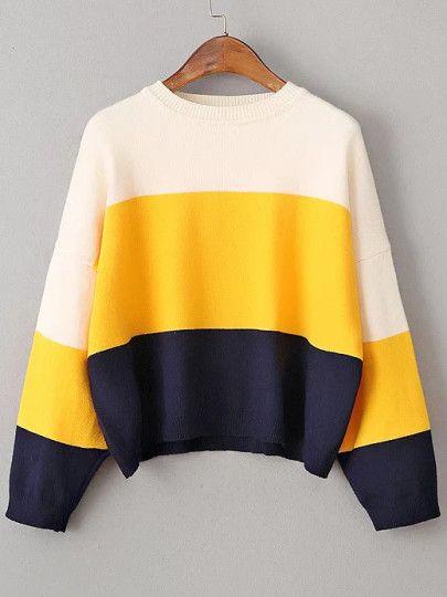 Color Block Drop Shoulder Loose Sweater Affordable fashion hunt  by SunshiineBlondie