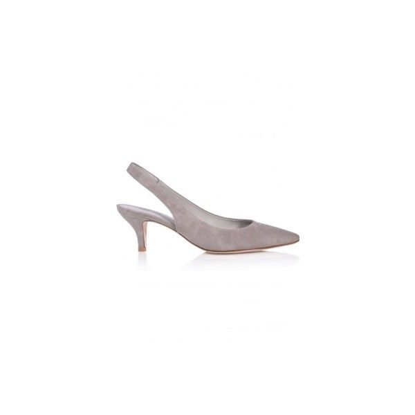 Selma Suede Kitten Heel In Ghost (1 800 SEK) ❤ liked on Polyvore featuring shoes, pumps, pointy-toe pumps, grey suede pumps, grey pointed toe pumps, grey shoes and kitten heel pumps
