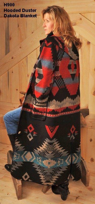 women's Rhonda Stark made in America USA hooded western Indian blanket wool blend winter car duster coat