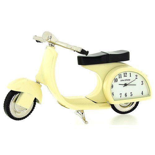Miniature Scooter Novelty Cream Tone Classic Vespa - Collectors Clock 9088