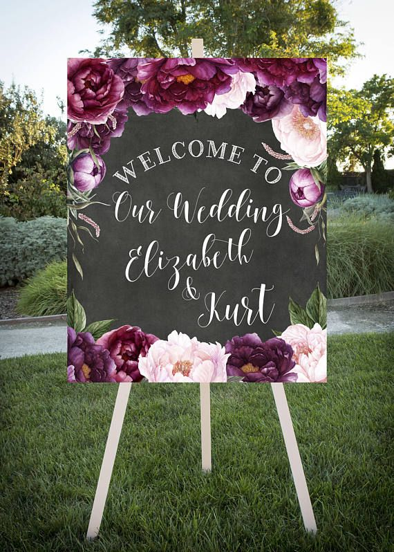 Welcome your wedding or shower guests with this beautiful water color chalkboard sign decorated with burgundy and blush peonies. This large format sign is a custom printable wedding sign. ***Please note this is a digital file. No physical product will be received. The digital file will be sent to the email address that is on file with ETSY. Frame, easel, ect. are for display purposes only and not included in download. Available sizes: 8x10, 16x20, 24x30 HOW TO ORDER- 1. Add desired size…