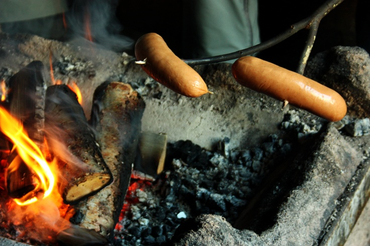Traditional way to cook sausages
