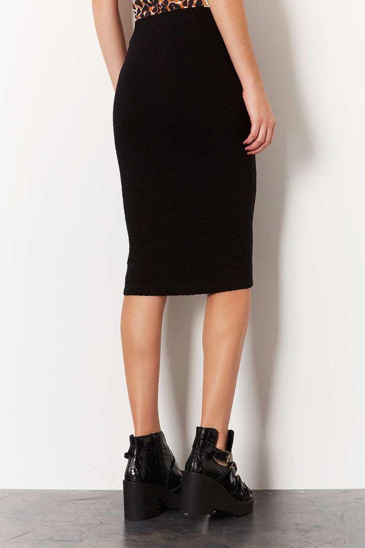 topshop black midi bodycon skirt womens black midi