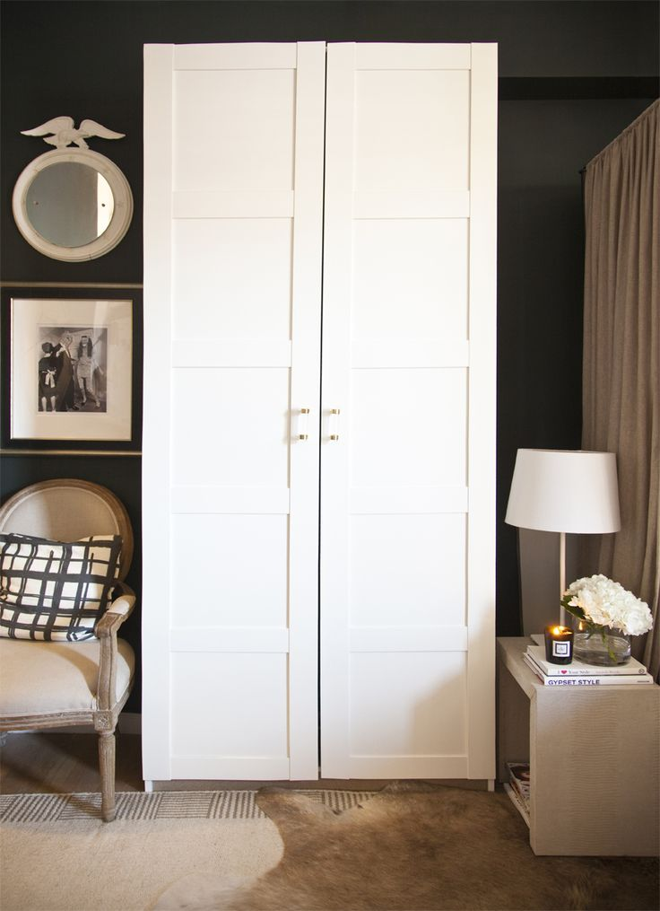 ivy clad ikea 39 s pax bergsbo wardrobe with lucite handles from the paris apartment storage. Black Bedroom Furniture Sets. Home Design Ideas