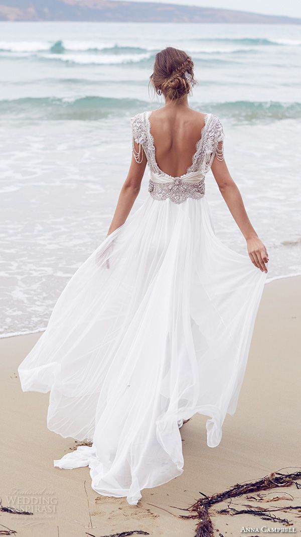 anna campbell 2015 bridal dresse cap sleeves v neckline beaded embellished bodice pretty wedding dress with silk tulle skirt sierra back view