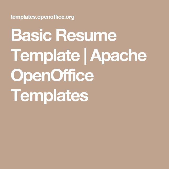 Basic Resume Template | Apache OpenOffice Templates