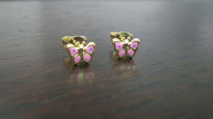Little Gold Butterfly Stud Earrings in 14 Carat Gold by IoJewellery on Etsy